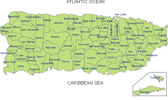 Map Of Puerto Rico With Cities. Municipalities of Puerto Rico