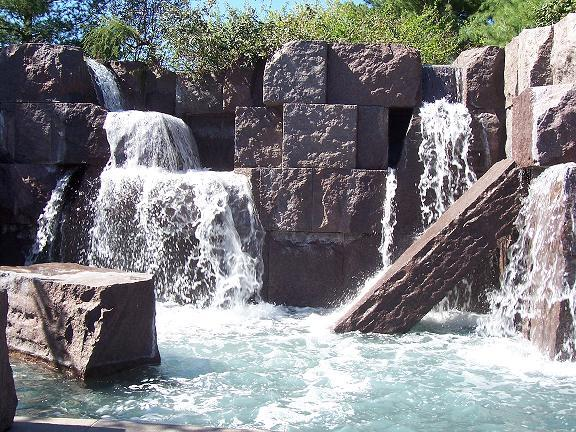 A small artificial waterfall at the Franklin Delano Roosevelt Memorial in Washington D.C.